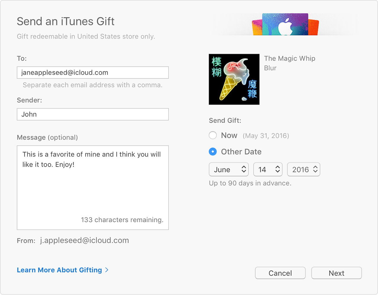 Send iTunes Gifts via email - Apple Support