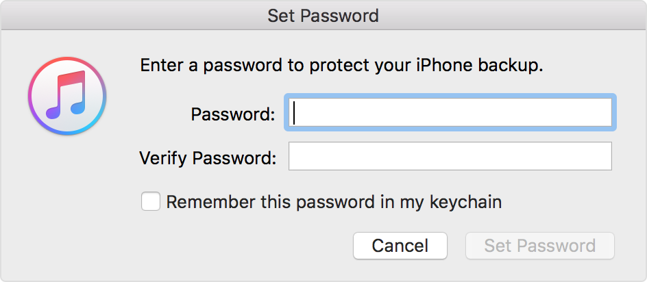 how do i backup my iphone about encrypted backups in itunes apple support 1485