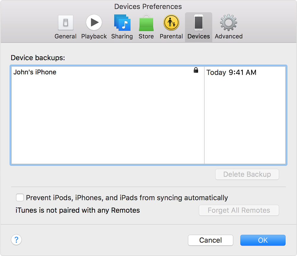In iTunes, click Preferences, then choose Devices.