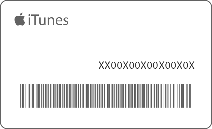 An iTunes gift card with the 16 digit code on the right, above the bar code.