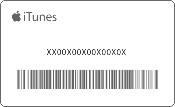 An iTunes gift card with the 16 digit code in the center.