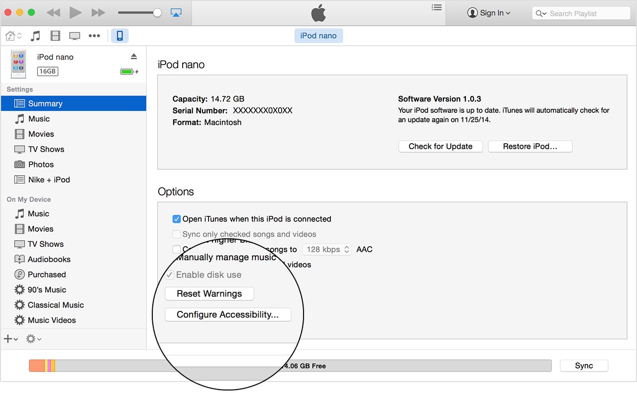 In the iPod Summary tab, click Configure Accessibility.