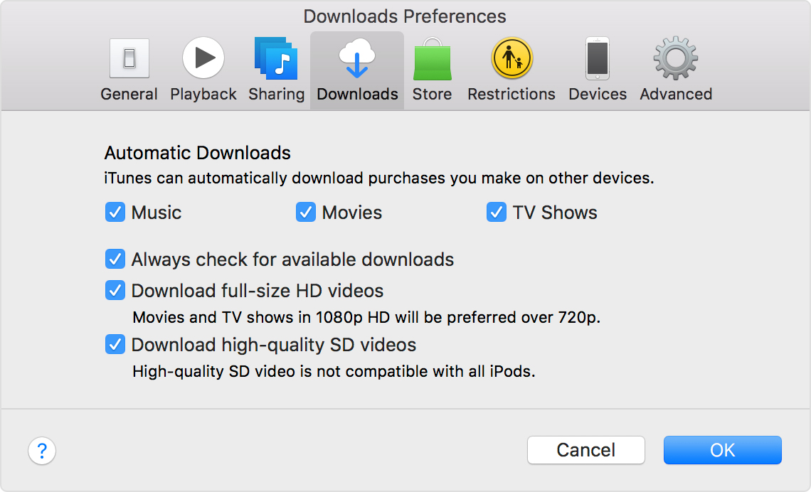Turn on Automatic Downloads for iTunes Store, App Store, and iBooks ...