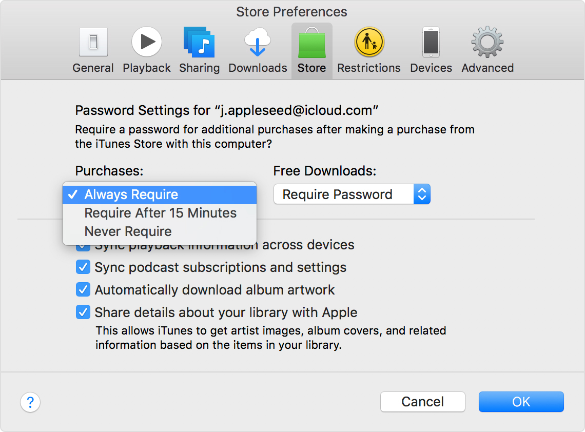 Manage your iTunes Store and App Store password preferences