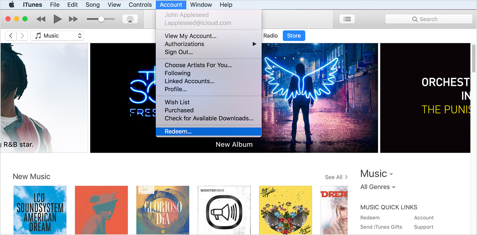 Redeem App Store & iTunes Gift Cards, Apple Music Gift ...
