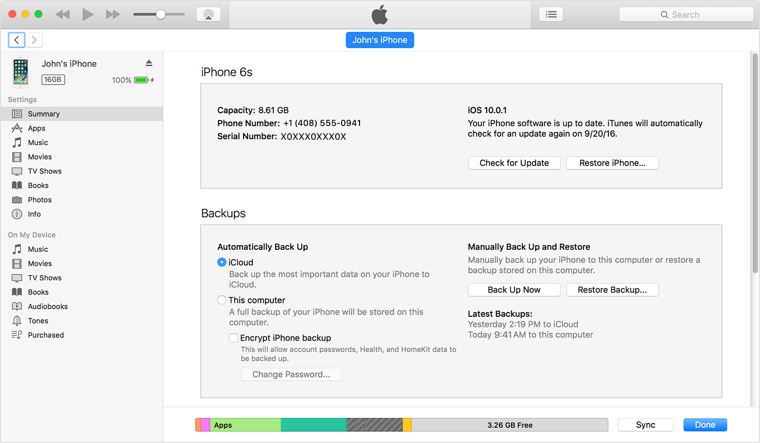 Make an iTunes backup of your iPhone, iPad, or iPod touch