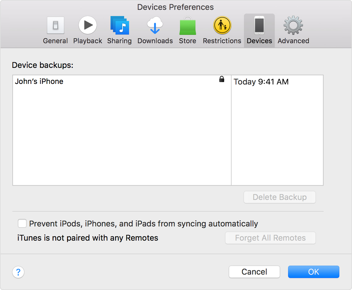Find recent backups in iTunes from Preferences > Devices