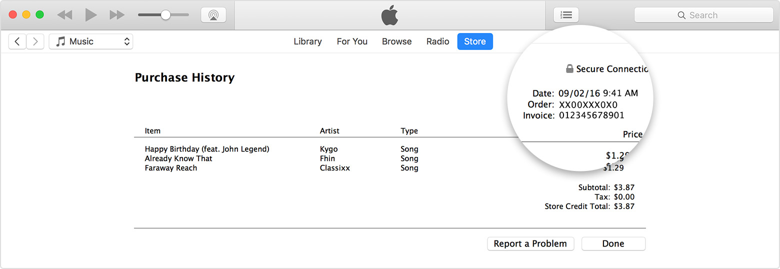 See your purchase history in the iTunes Store on a Mac or PC
