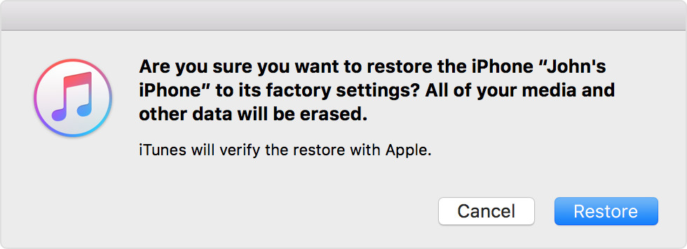 Restore iPhone in iTunes