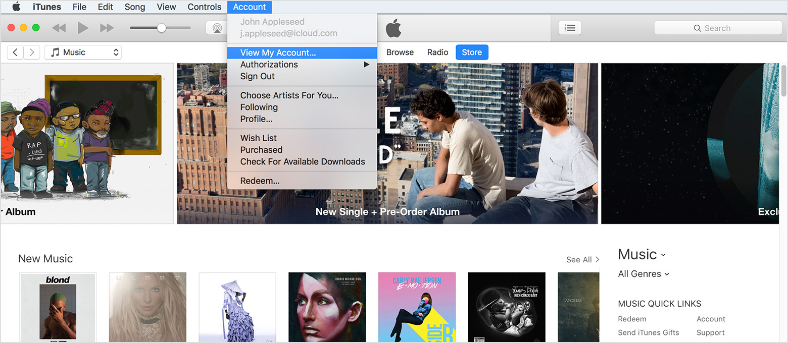 From The Menu Bar At The Top Of Yourputer Screen Or At The Top Of The  Itunes Window, Choose Account > View My Account