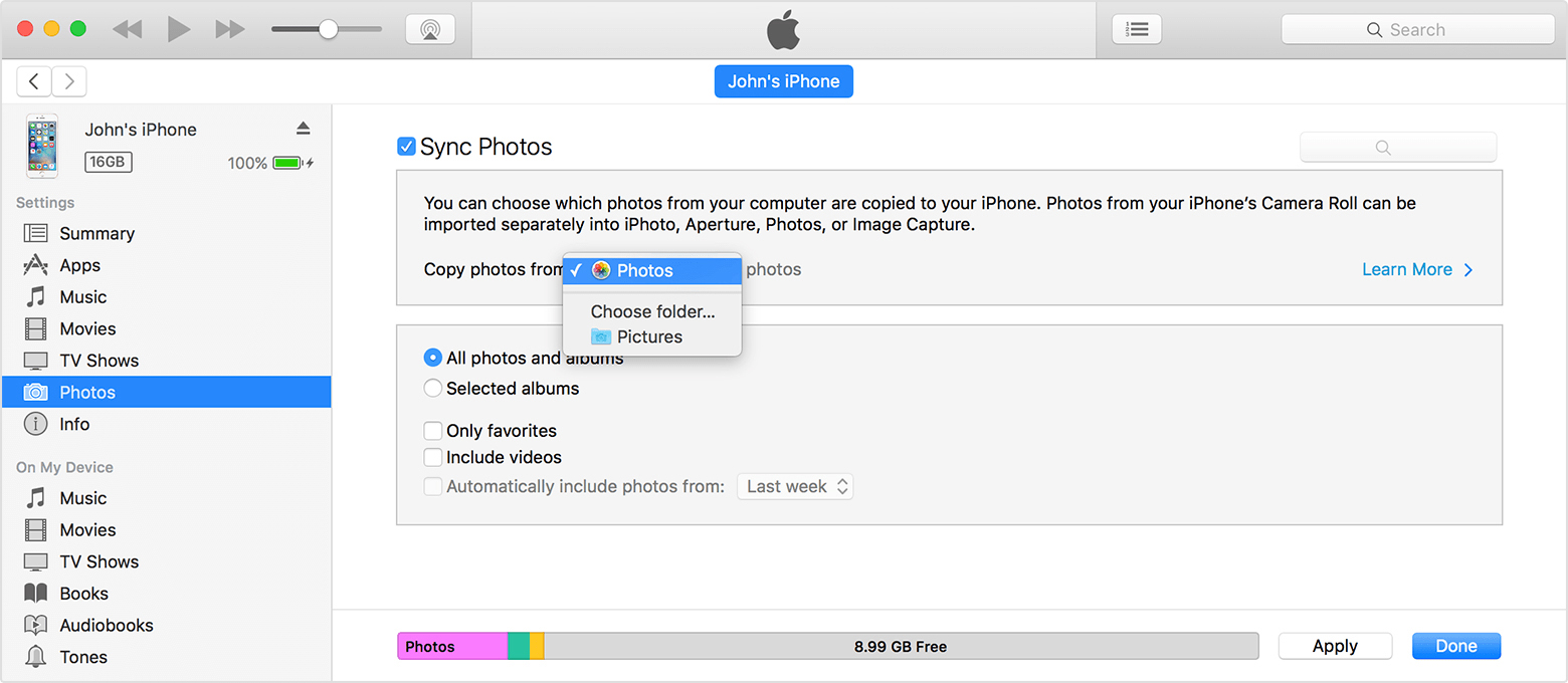 how do i sync my iphone to my ipad itunes photos sync problem apple community 21309