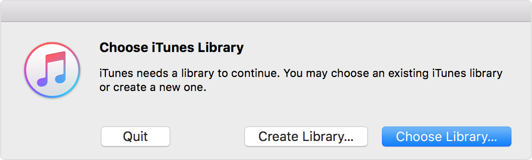 The Choose iTunes Library alert message with the Choose Library button selected.