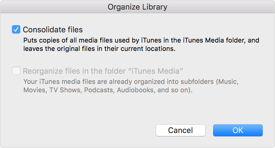 "The Organize Library panel from iTunes with ""Consolodate files"" selected."