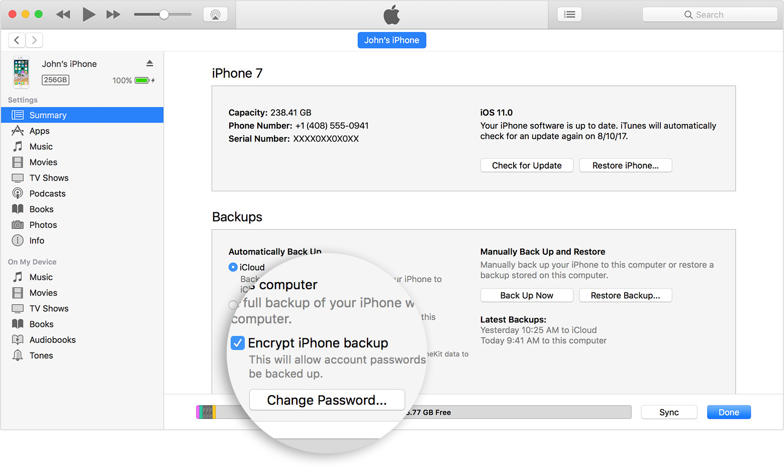 Encrypt local backup iphone