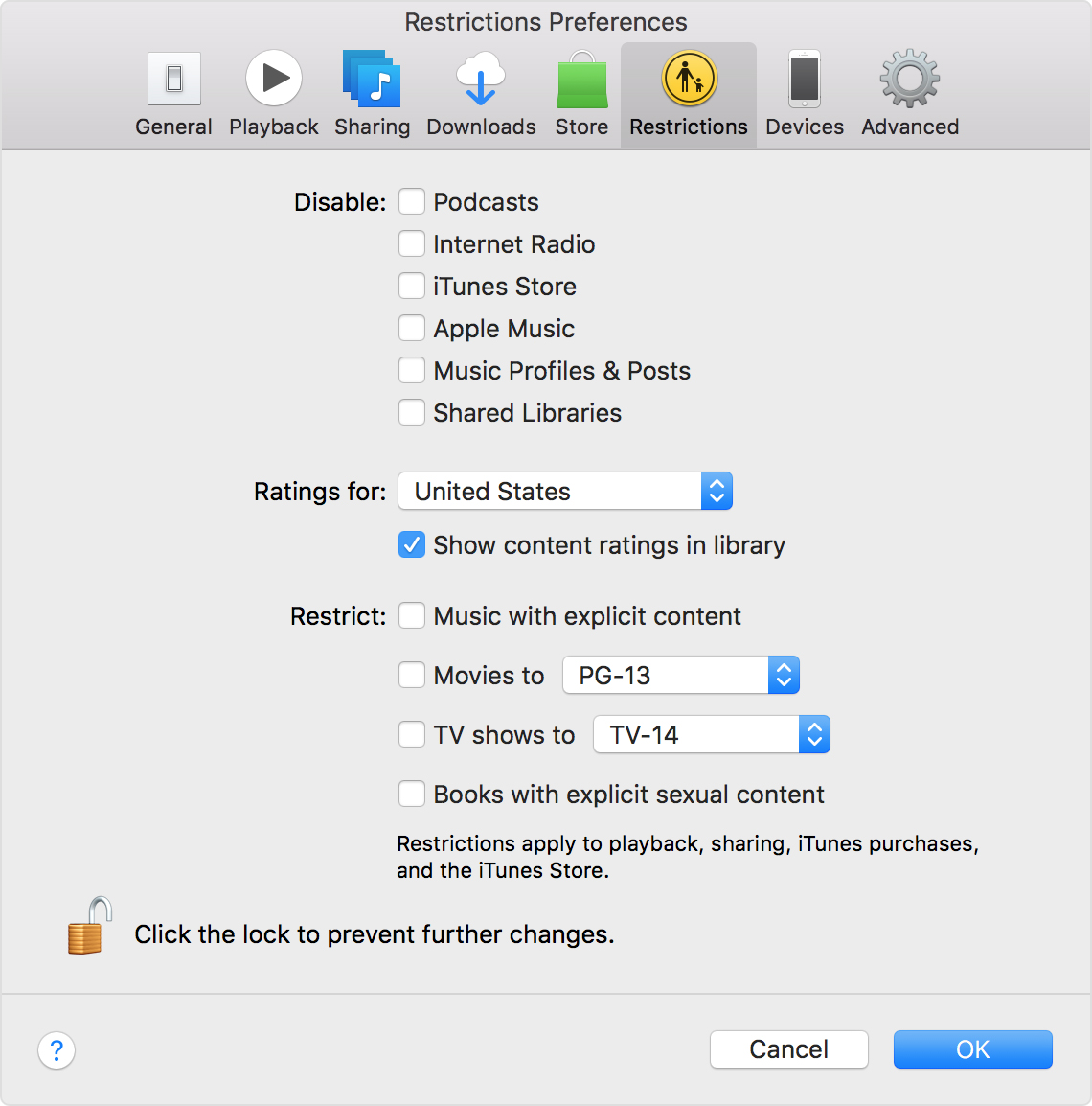 Use Restrictions in iTunes on your Mac or PC - Apple Support