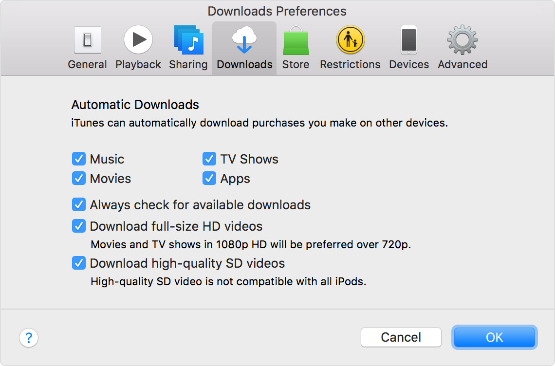 turn on automatic downloads for itunes store app store and