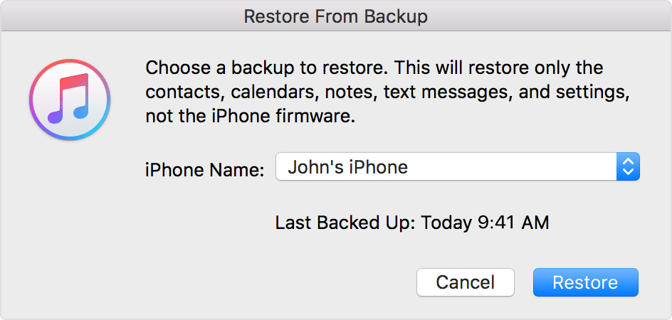 Choose a backup to restore from