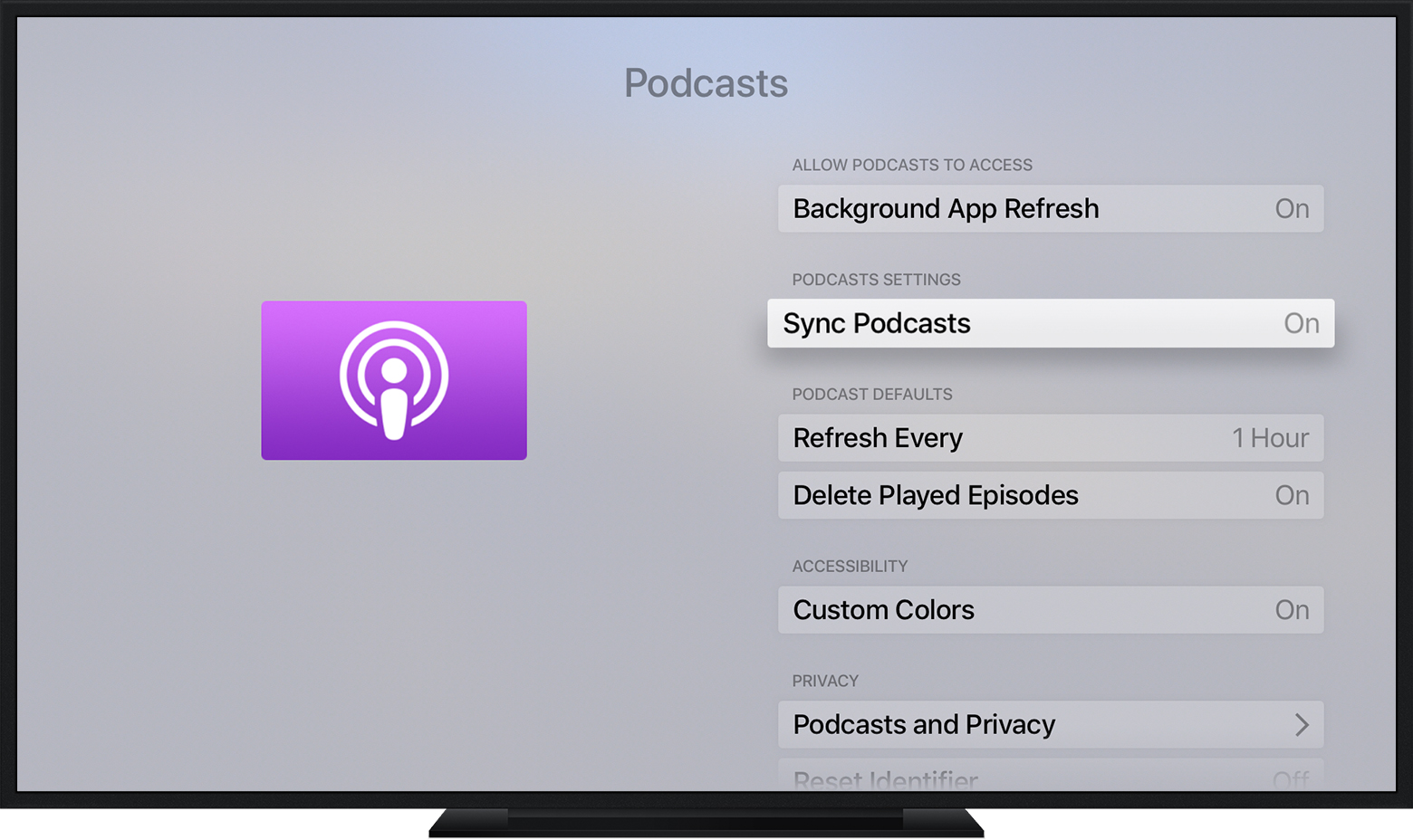 turn on sync podcasts