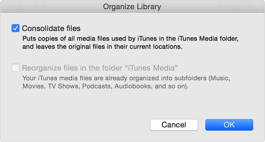Organize library settings