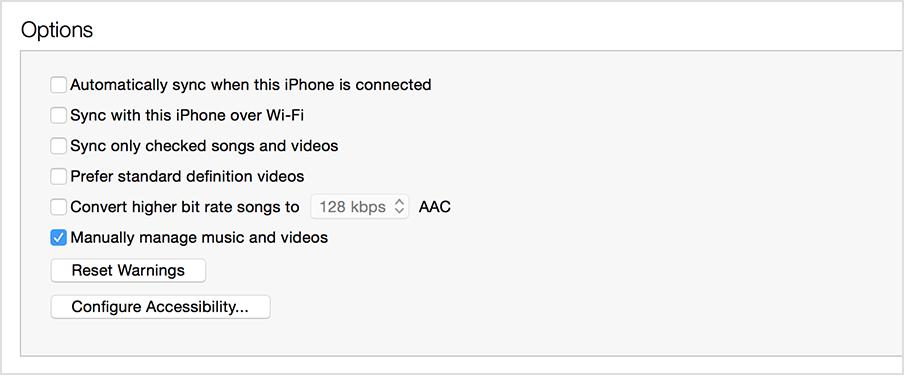 ... manuellement la musique et les vidéos » sélectionnée dans iTunes