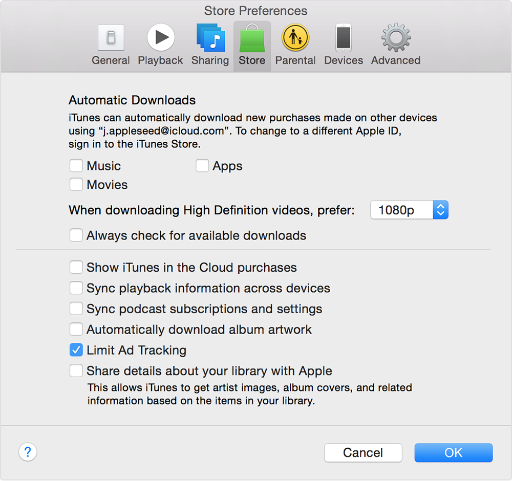 Limit ad tracking in iTunes on