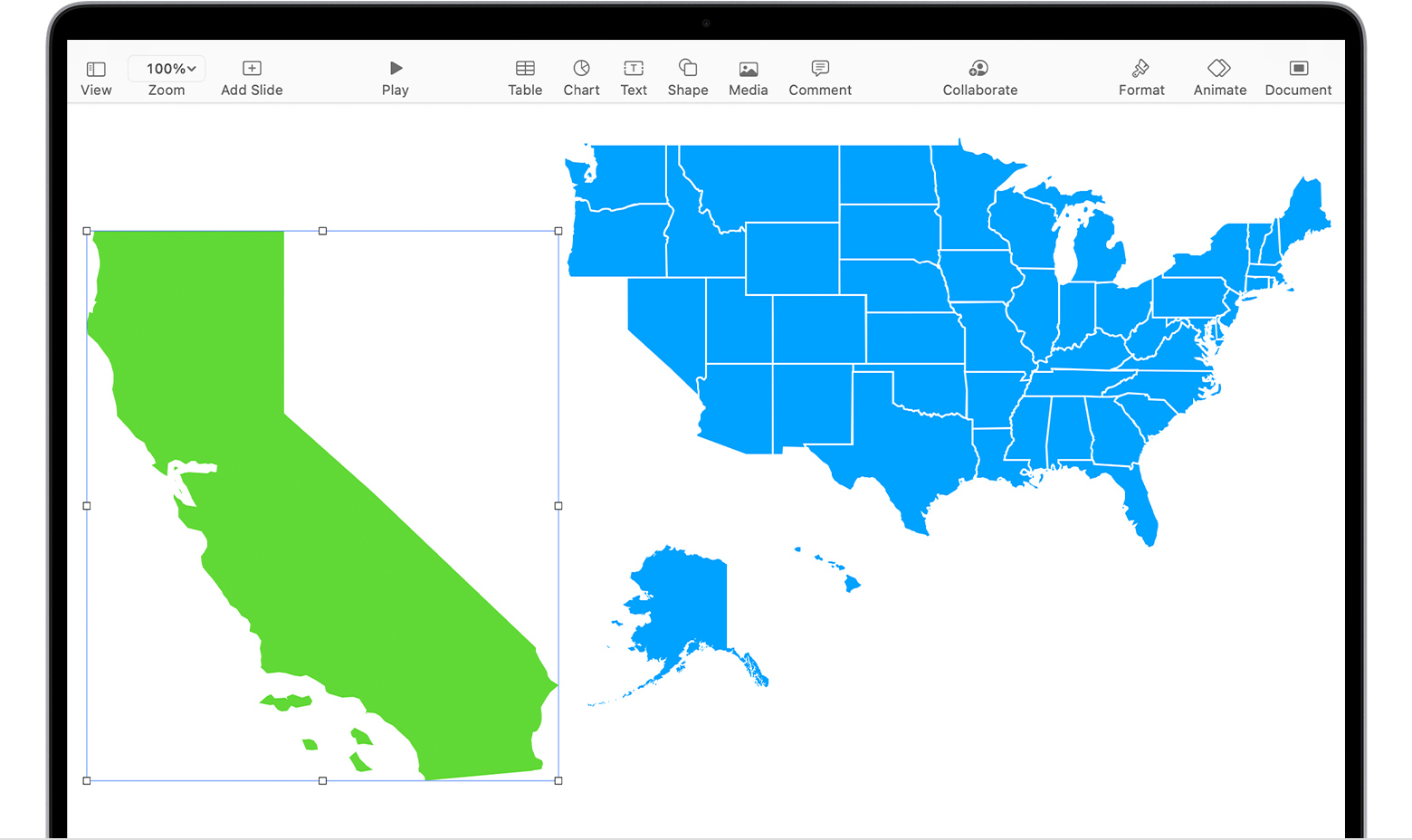 Keynote on a Mac showing the State of California shape selected next to the United States of America shapes