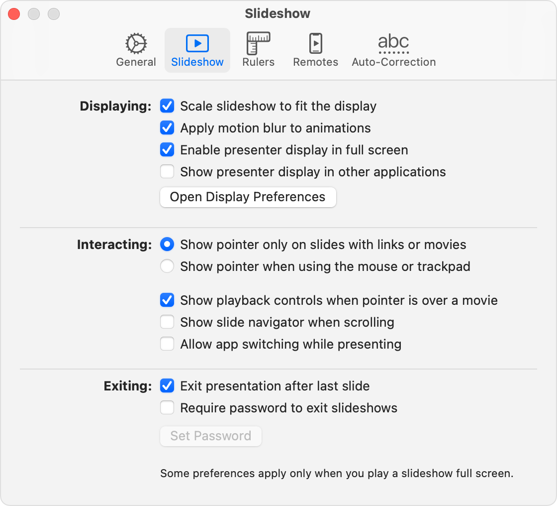 Keynote Slideshow Preferences window