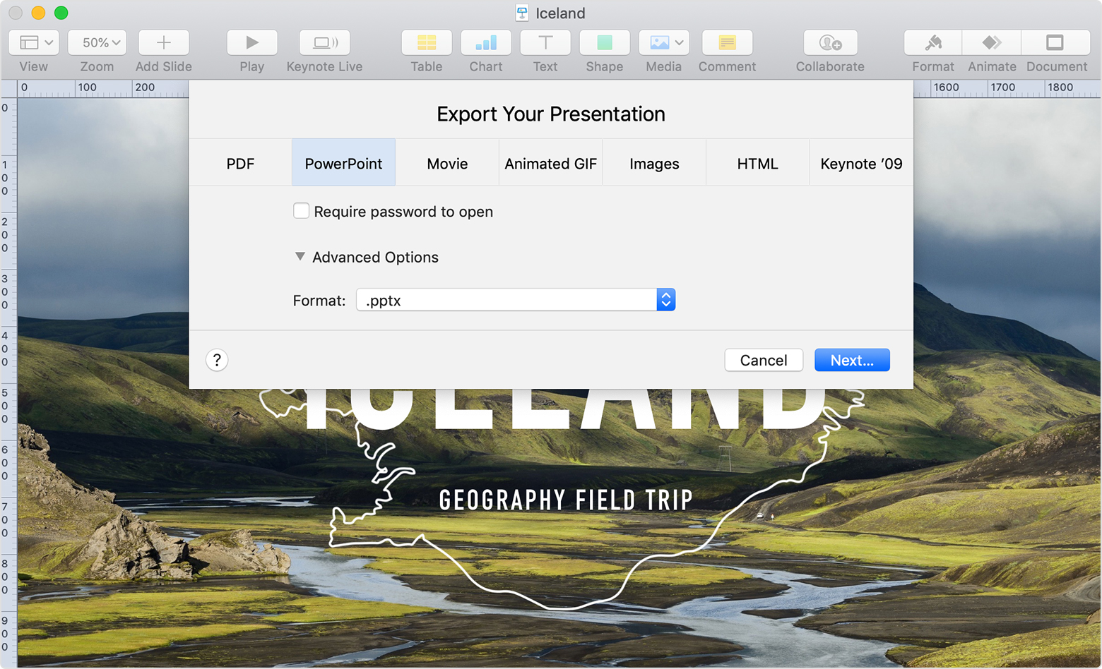 Convert Keynote presentations to PDF, Microsoft PowerPoint, and more -  Apple Support