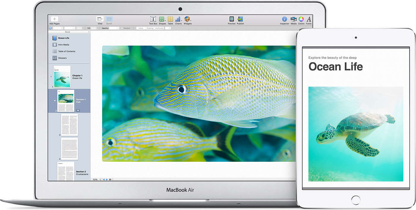 A MacBook Air showing a project in iBooks Author with pictures of tropical fish and the completed book on iPad.