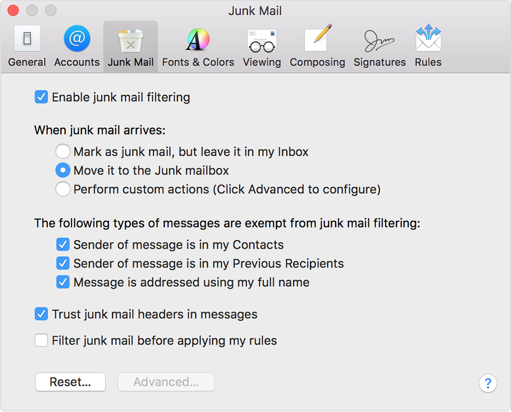 Enable junk mail filtering on Mac