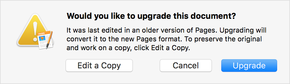Would you like to upgrade this document? prompt