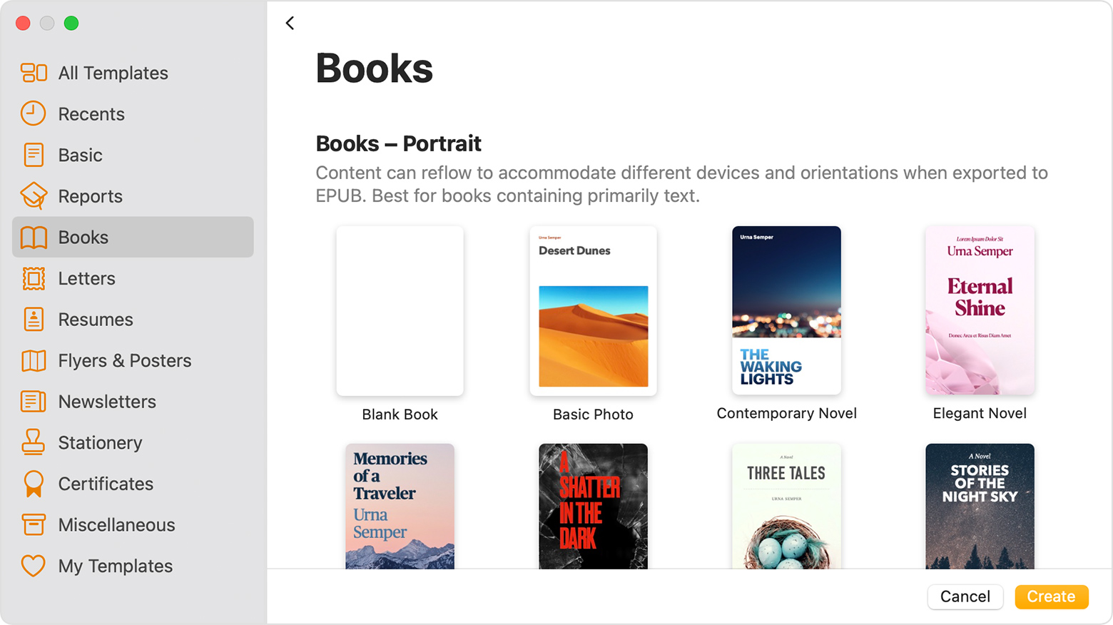 Pages Books template chooser window
