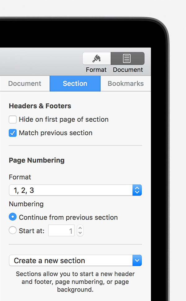 how to set up page numbers