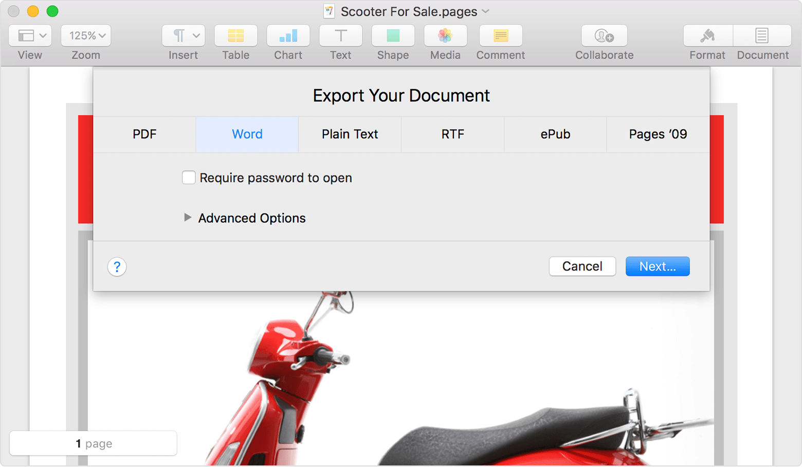 export a file with pages for mac