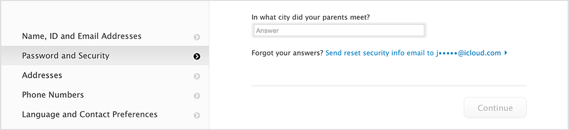 apple id forgot security questions and rescue email