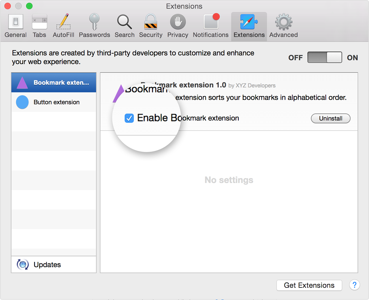 Extensions in Safari preferences
