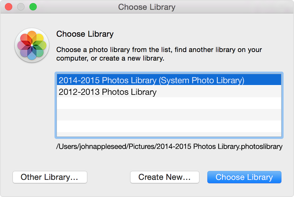 Photos Choose Library dialog