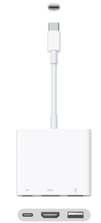 58ee3fb4454 El adaptador multipuerto de USB-C a AV digital conecta una Mac que tenga un  puerto Thunderbolt 3 (USB-C) o USB-C a una pantalla que use un cable HDMI.