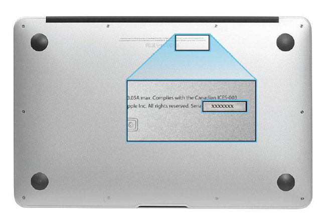 where is the serial number on a macbook 2008