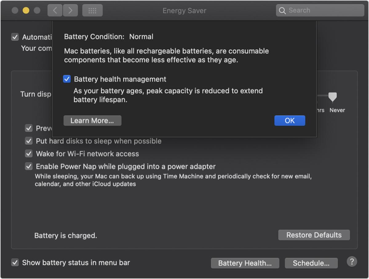 macos catalina system prefs energy saver battery health - 如何打開、關閉 macOS Catalina 10.15.5 電池健康管理功能