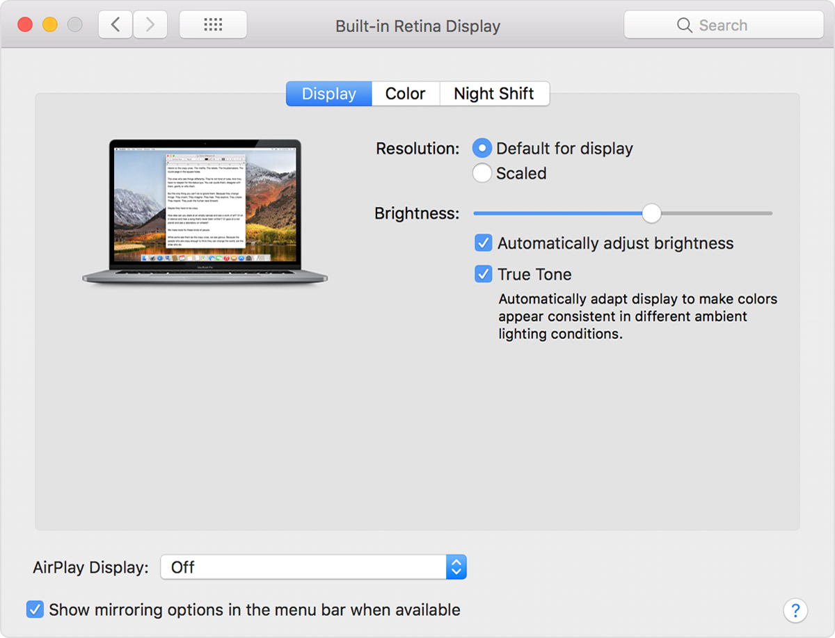 Use True Tone on your Mac - Apple Support