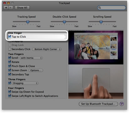 Trackpad System Preferences