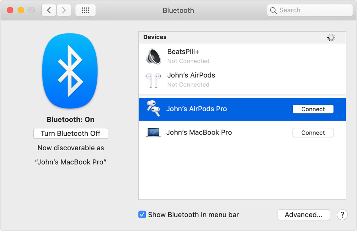 connect airpods with MAC
