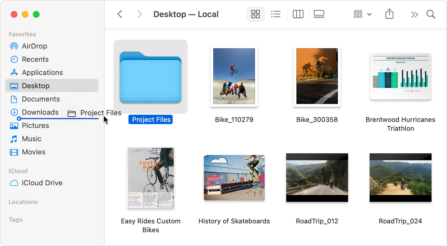 Finder window with a folder being dragged into the sidebar