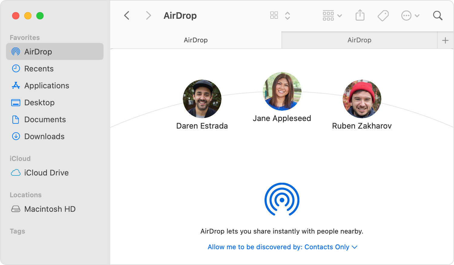 AirDrop window in the Finder