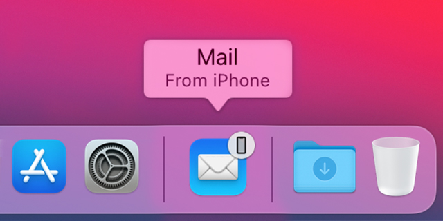 "macOS dock showing the Mail app icon with a ""From iPhone"" label"