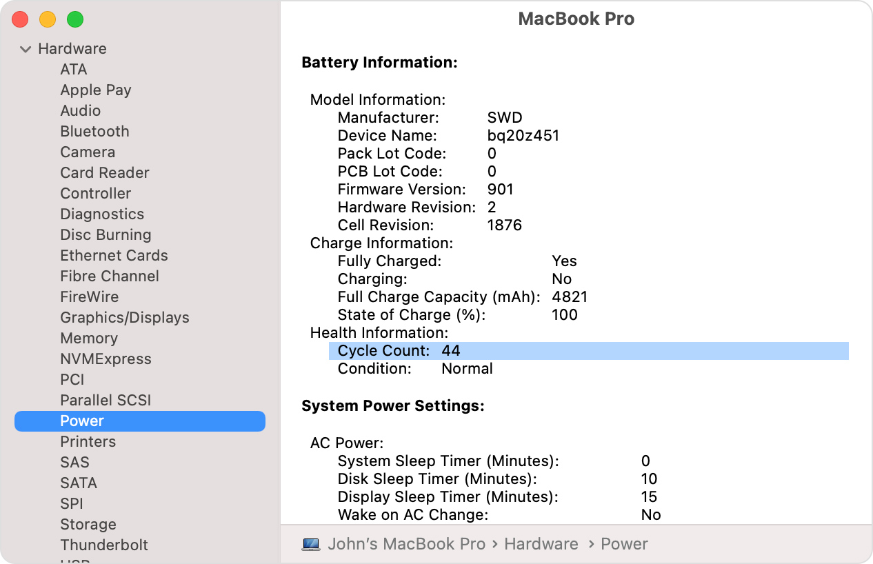 MacBook Pro System Information window with battery cycle count highlighted