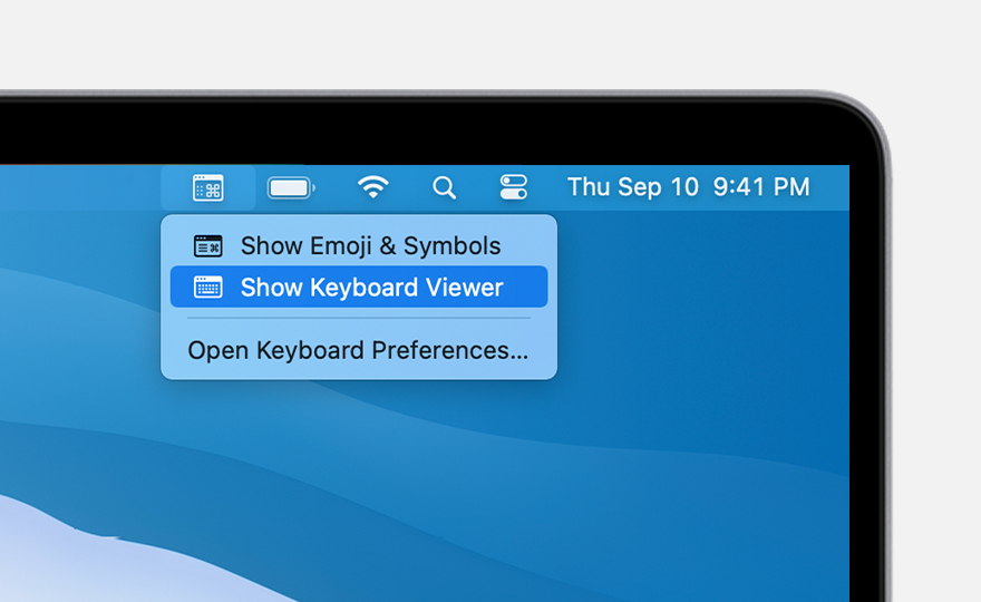 "macOS Big Sur input menu open with ""Show Keyboard Viewer"" highlighted"