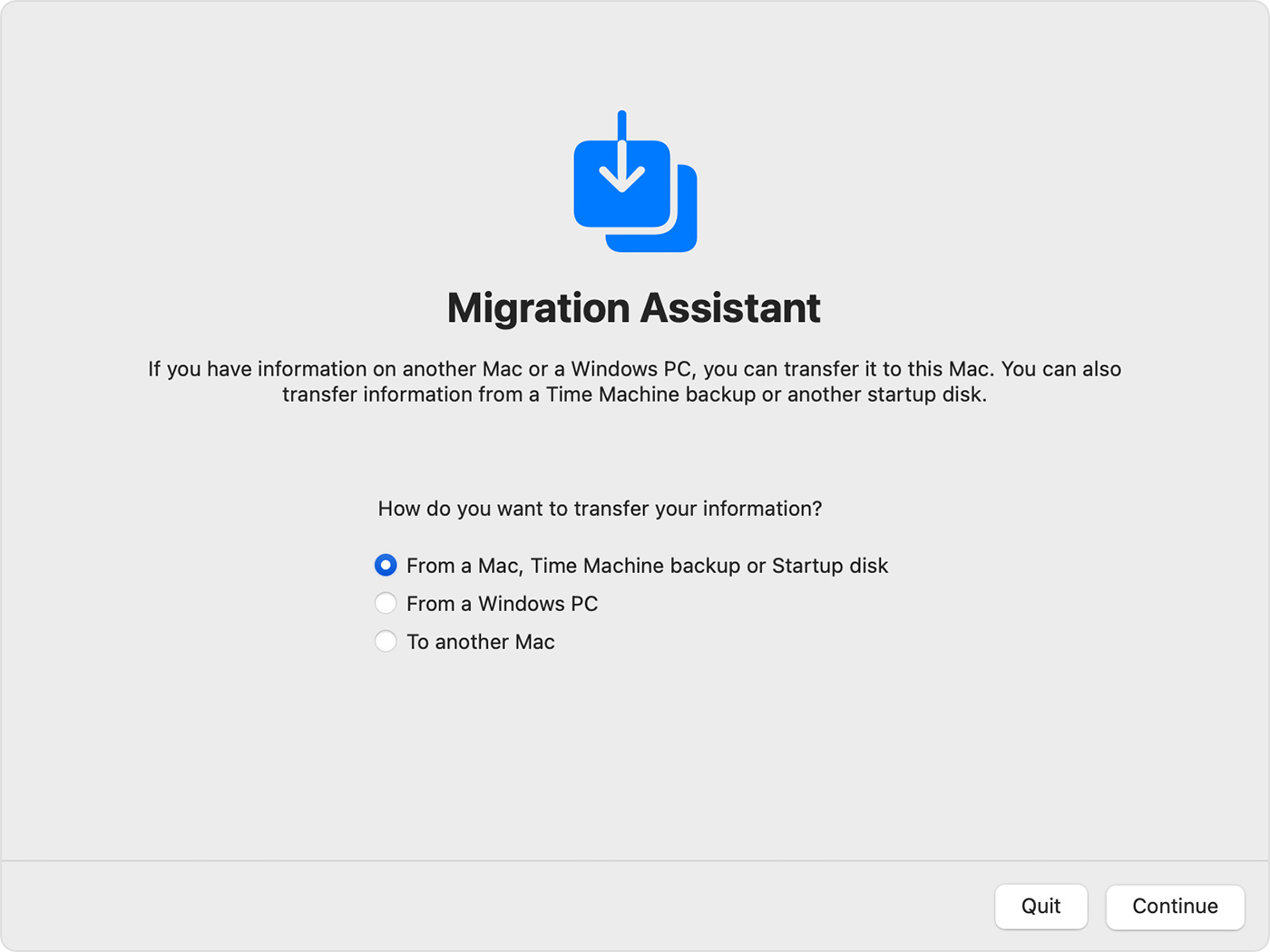 Migration Assistant: How do you want to transfer your information?