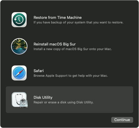 macOS Big Sur Recovery options with Disk Utility selected